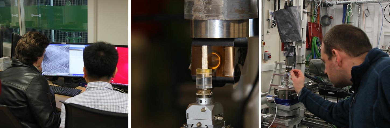 Three photographs taken during beamtime on ANATOMIX