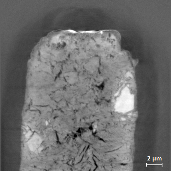 Nanotomography slice of a sample of cement paste - beamline ANATOMIX